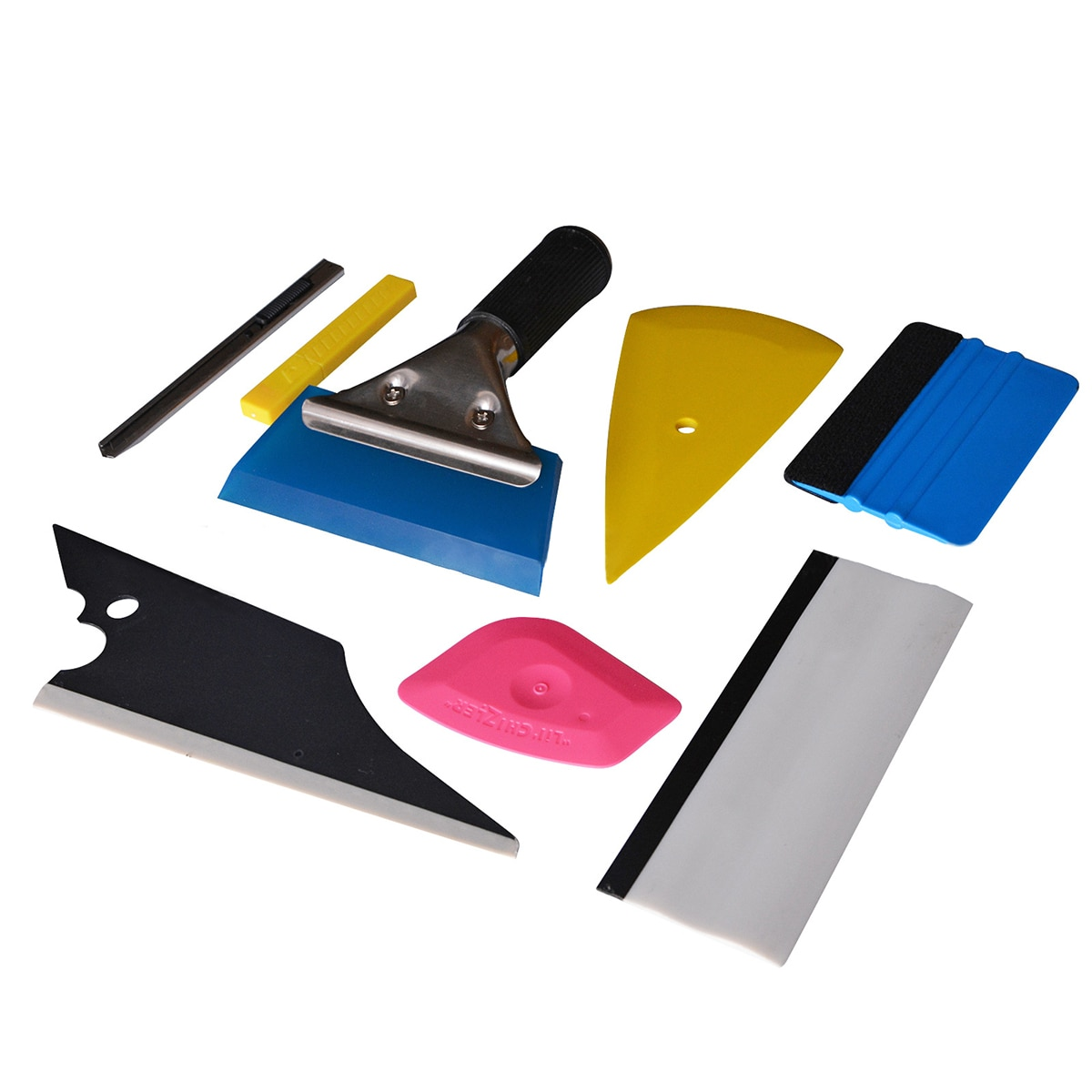 8 Pcs Car Wrap Stickers Kit Vinyl Auto Car Accessories Window Vinyl Film Installation Tools Tinting Squeegee Film Cutter Scraper
