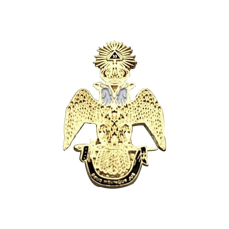 Pins de solapa masónicos oro rito escocés 33 grado ala broche regalos insignias Clutch con mariposas 31,8mm