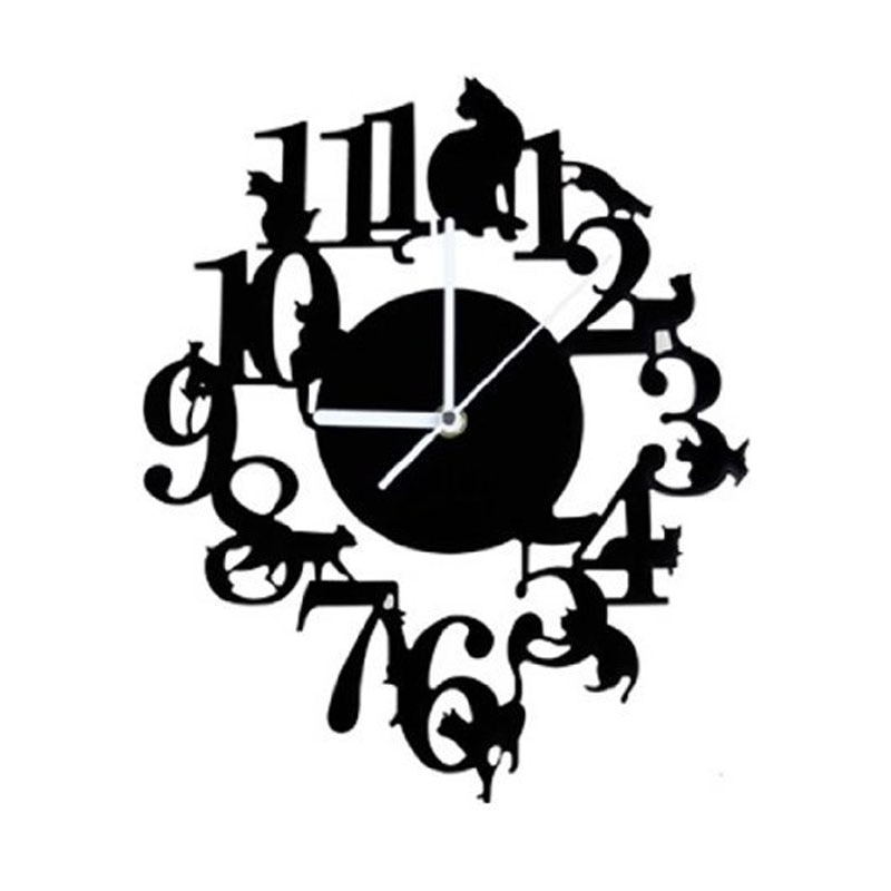 Gancho para reloj de pared de gato negro JEYL, reloj de pared antiguo de interior, reloj escandinavo con Gato bonito (negro)