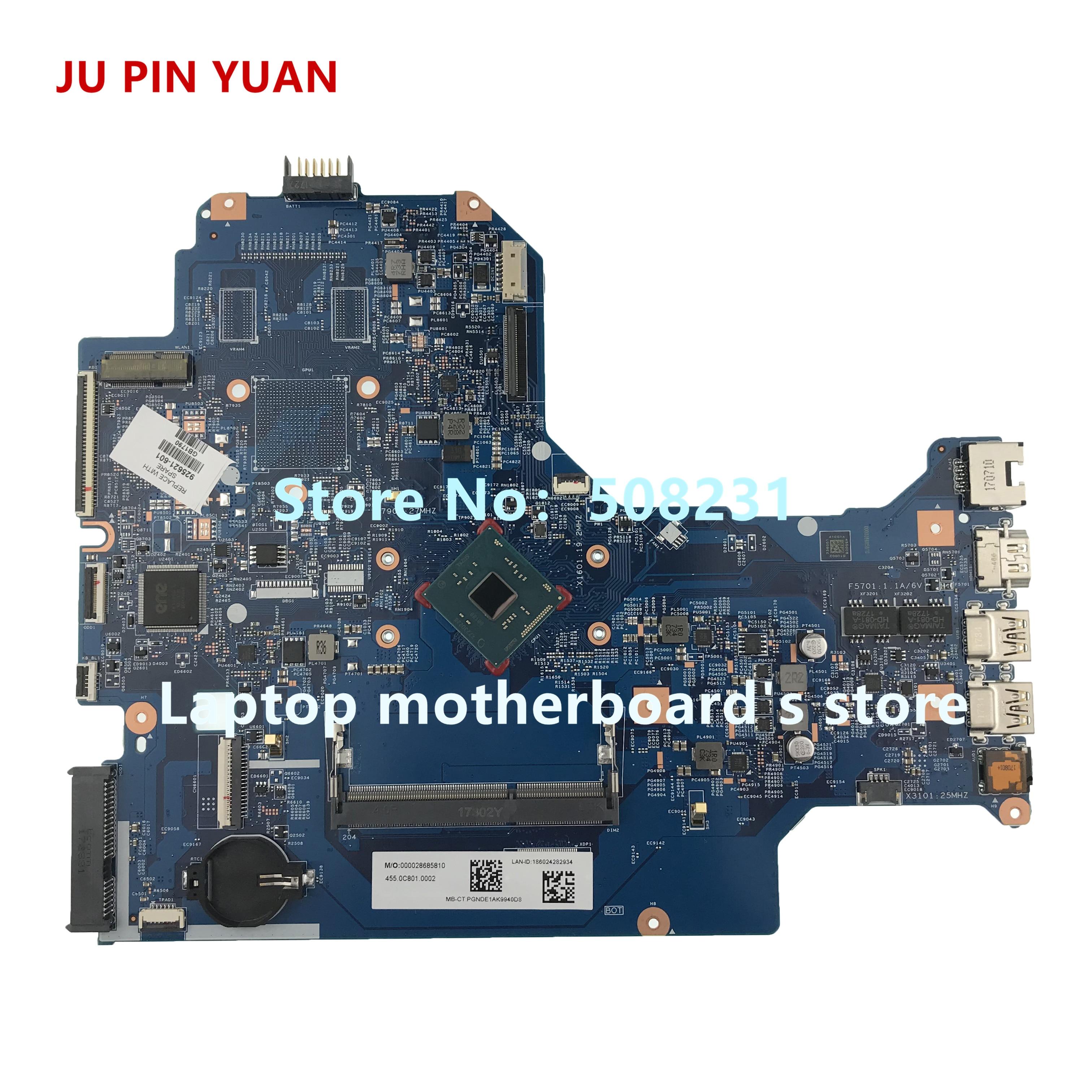 JU PIN YUAN-اللوحة الأم للكمبيوتر المحمول HP ، اللوحة الأم للكمبيوتر المحمول HP 17-BS 17-BS001DS ، تم اختبارها بالكامل ، 925621-601 925621-001 448.0C81.0011