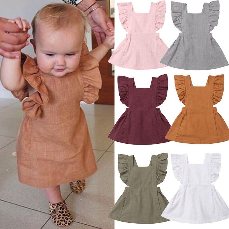 Citgeett verano niños recién nacidos niña sin mangas sólido mangas voladoras Color volante fiesta vestido Casual ropa de verano