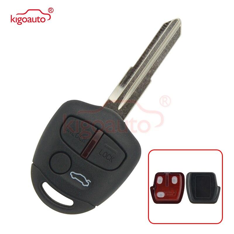 Kigoauto remoto chave fob 3 botão apto para mitsubishi lancer ex chave remota 433mhz lck id46 mit8 lâmina