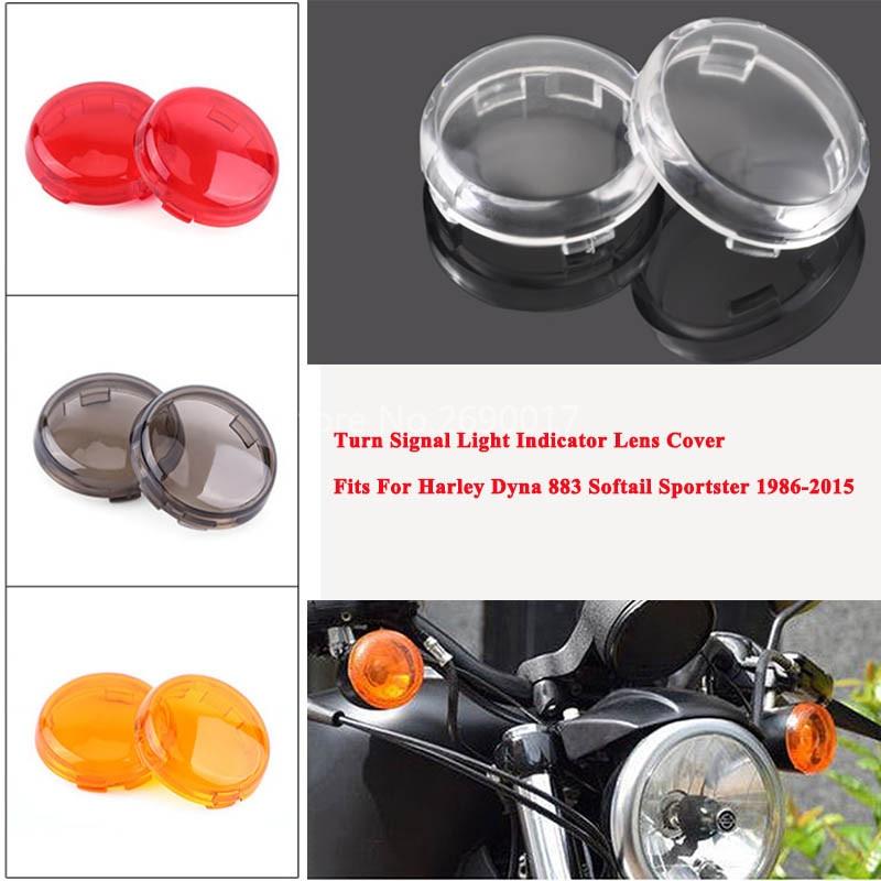 2 uds Luz de señal de giro para motocicleta indicador cubierta de lente se adapta a Harley Dyna 883 Softail Sportster 86-2015Yellow/Smoke/Red/Clear