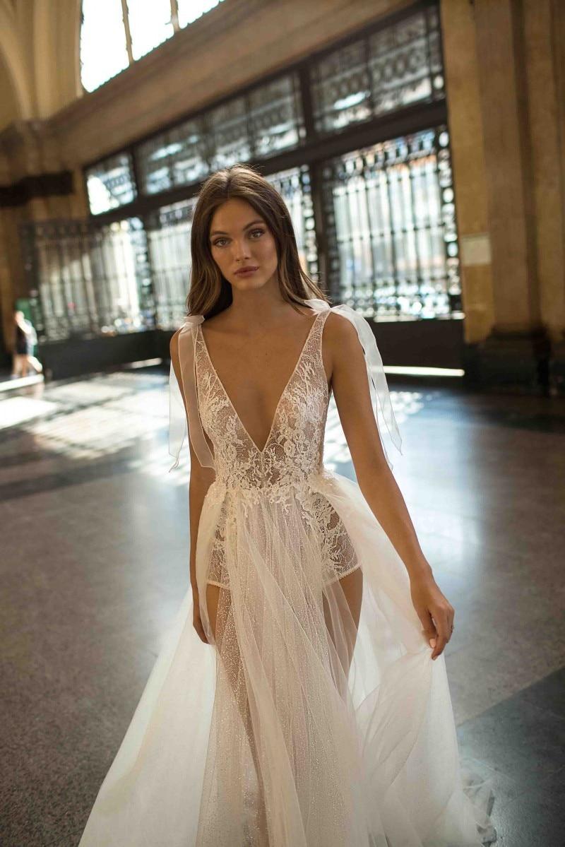 Купить с кэшбэком 2019High Side Split Wedding Dress Sexy Sheer V Neck Backless Lace Bridal Gowns  Vestido De Novia Wedding Bride Gowns