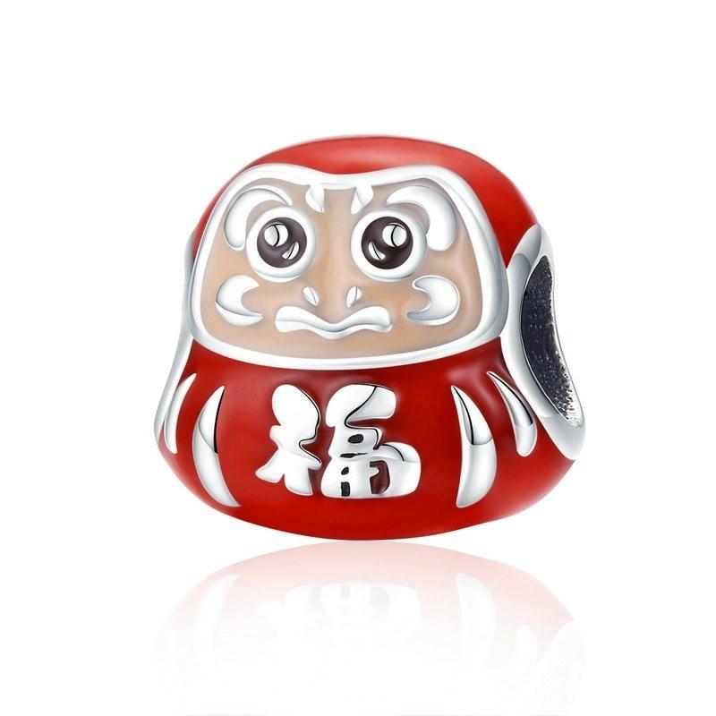Venda quente 100% 925 Sterling Silver Japão Daruma Vermelho Esmalte Beads Fit Pandora Pulseiras Mulheres Jóias Fazendo Scc1087