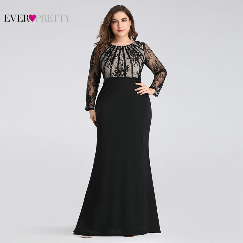 Evening Dresses Long 2020 Ever Pretty EZ07771 Elegant Mermaid Lace Full Sleeve O-neck Plus Size Moth