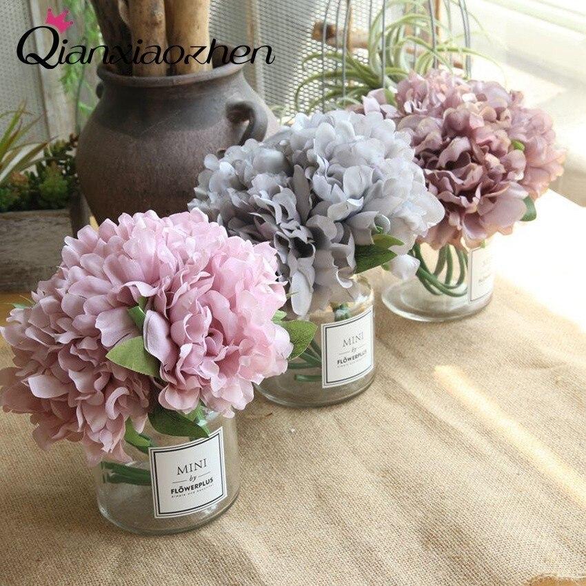 Flores artificiales de peonía Qianxiaozhen para boda flores falsas ramo flores de boda decoración del hogar