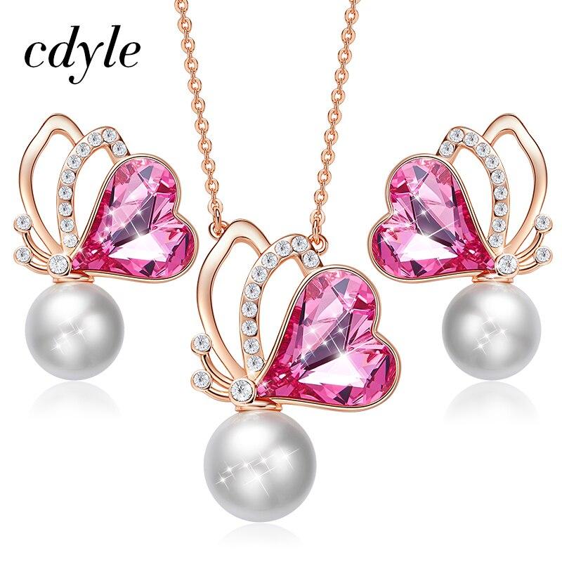 Cdyle joyería de oro de mujeres Set embellecido con alas de mariposa de cristal joyería collar pendientes Set regalos de amor