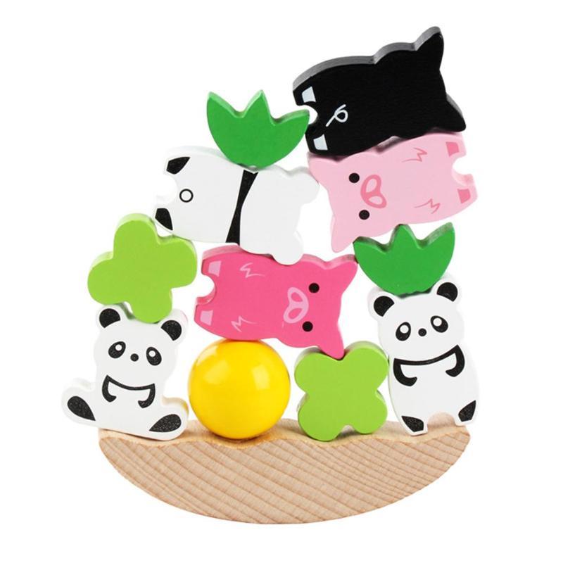 Quebra-cabeças de madeira para crianças, brinquedo infantil com animais para equilibrar a lua, montessori, aprendizagem precoce