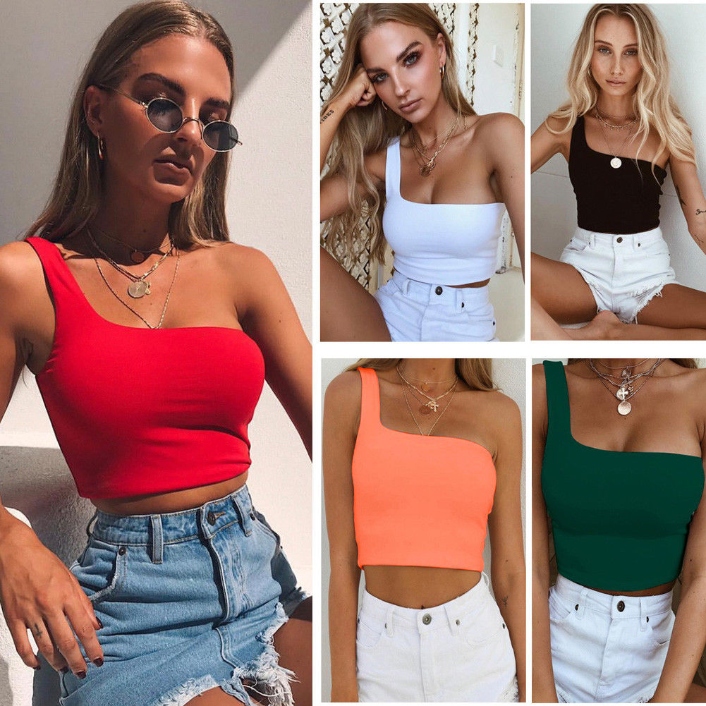 Women Sexy Cool Single One Shoulder Tank Tops Vest Bare Midriff Sleeveless T-Shirt Summer Beach Crop Top