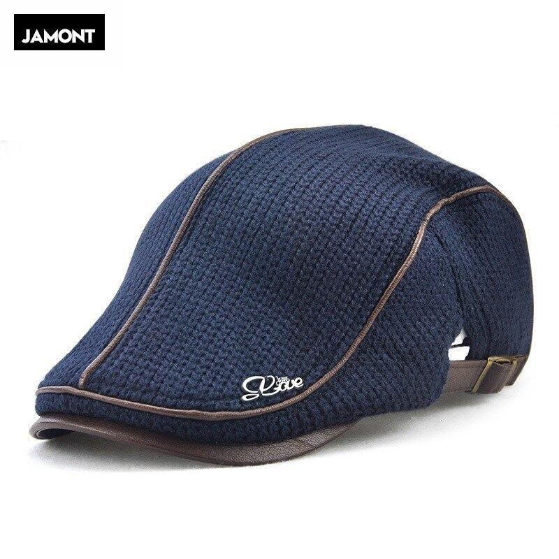 Jamont para hombre de punto gorro boina lana de invierno cálido sombrero para visor para hombre plana gorra boina taxista tapas de los hombres de edad avanzada gorras estilo vendedor de periódicos