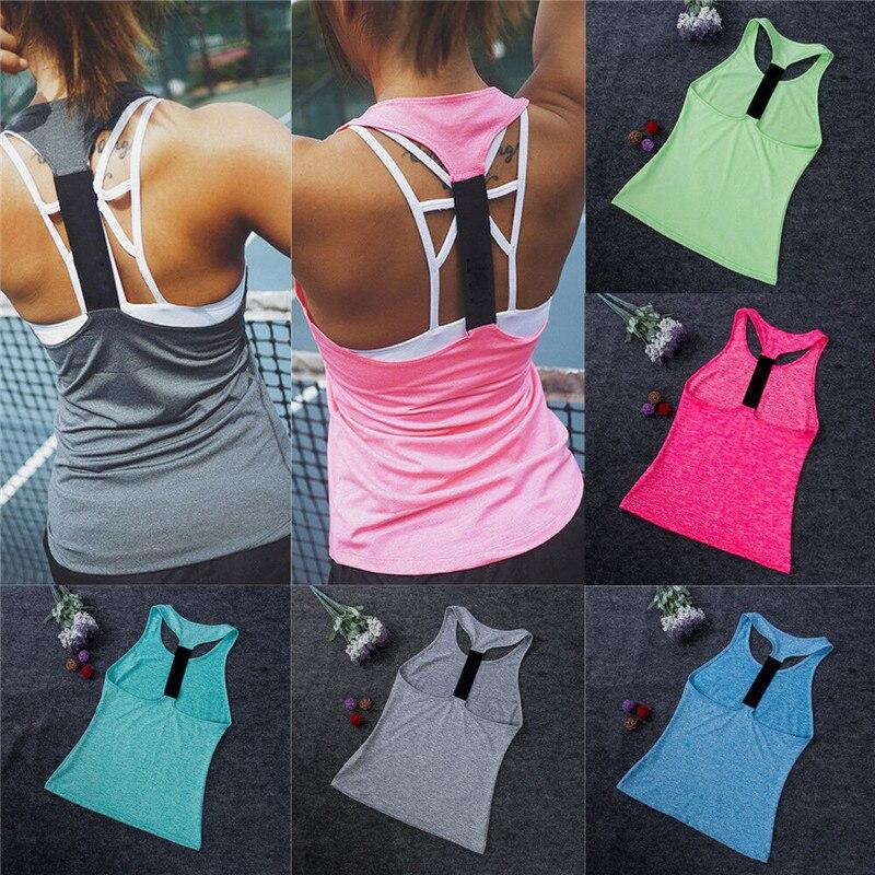 Camiseta sin mangas de Color liso para mujer, camisetas deportivas sin mangas para Yoga y gimnasio para XS-XL