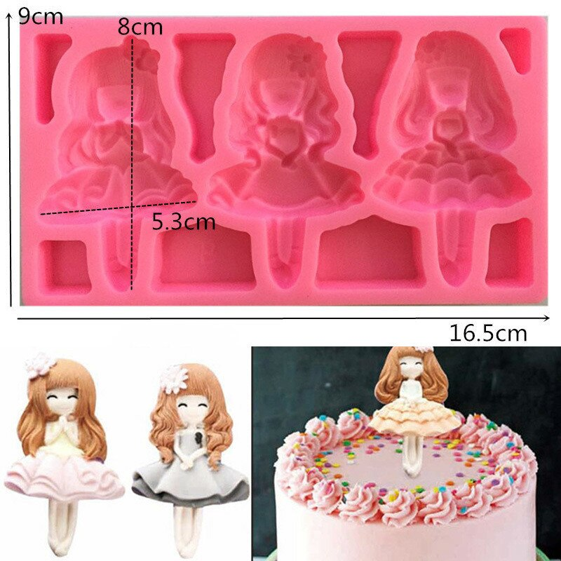 Hermosa chica de belleza princesa de silicona Fondant 3D molde para pasteles y magdalenas de Chocolate caramelo decoración para hornear utensilios para decoración de pasteles herramientas