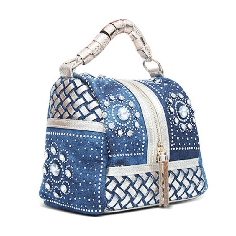 Women Diamond rhinestone PU Leather Demin Patchwork Handbag Ladies Casual Shoulder Bag Messenger Bag Fashion crossbody Bag bolsa