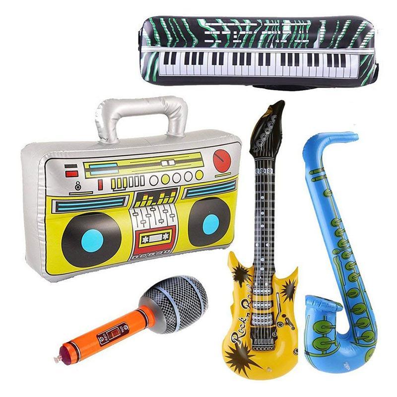5 uds. Juego inflable de micrófono de Radio instrumentos de juguete Musical, instrumentos divertidos, juguetes inflables, decoraciones, utilería para fiesta