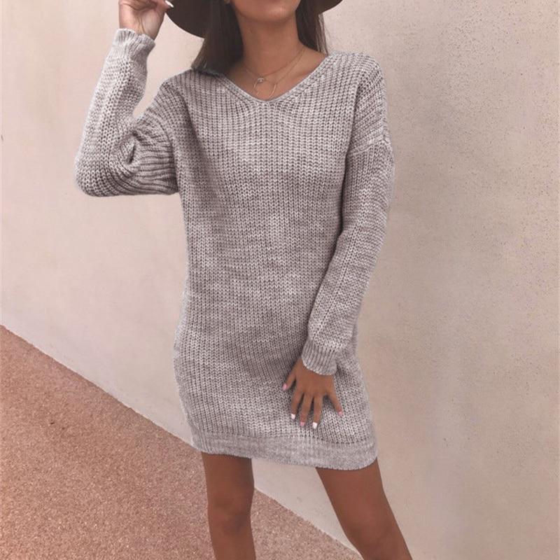 Women Backless Long Sleeve Jumper Loose Sweater Dress Winter Autumn Solid Basic Straight Dresses Fashion V-Neck robe femme hiver