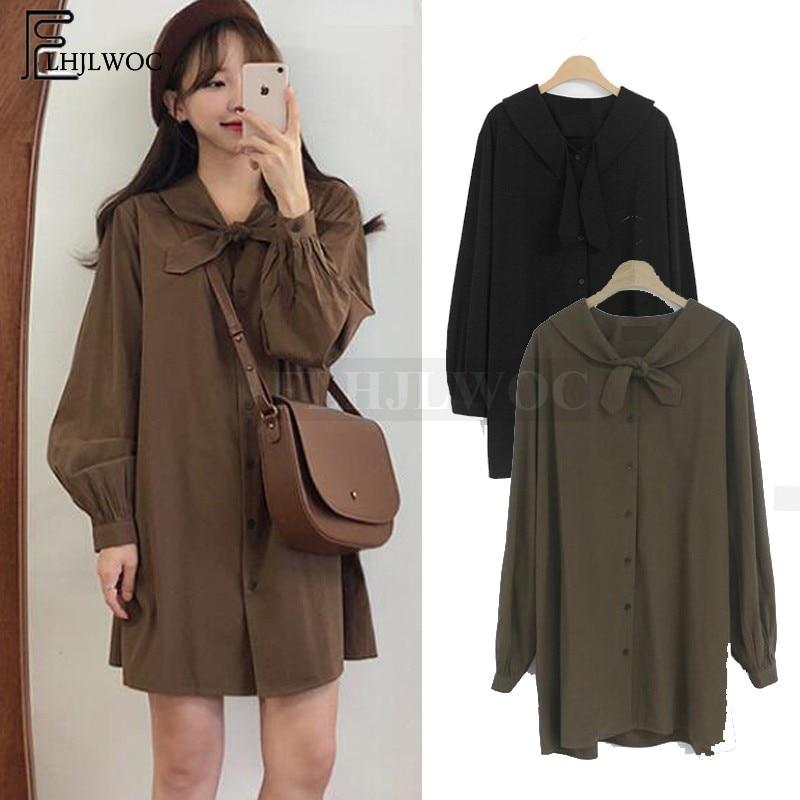 Cute Sweet Mini Dresses Hot Sales Women Japan Korean Design Casual Bow Tie Knot Little Black Loose Vintage Button Shirt Dress