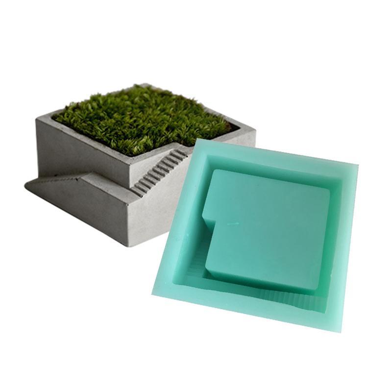 Molde de silicona DIY de 4 estilos, Cuadrado de hormigón con escaleras, escritorio, musgo, bonsái, cemento, maceta, molde hecho a mano para decoración del hogar