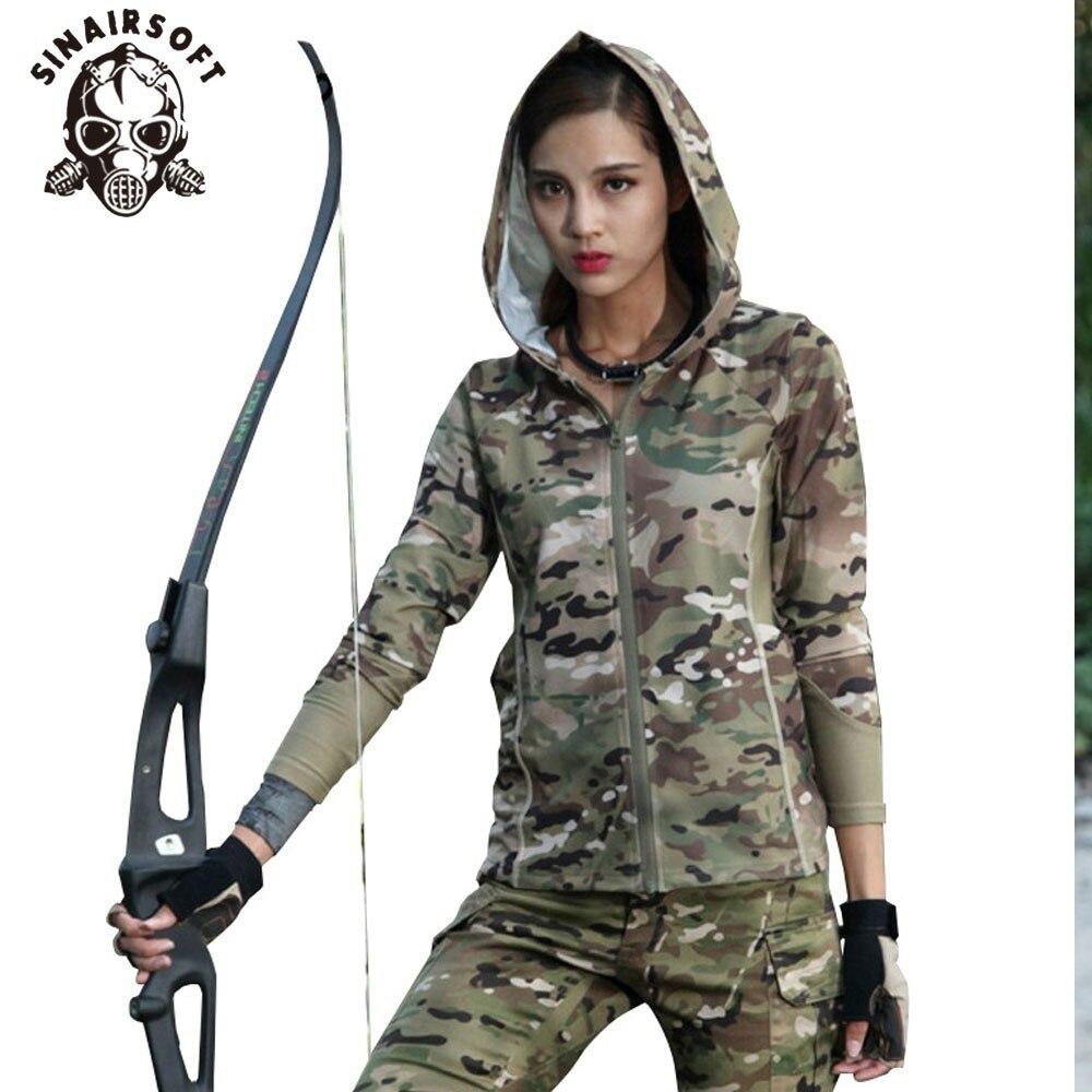 Mujeres camuflaje manga larga con capucha militar táctico urbanas de camuflaje para correr deportes al aire libre Airsoft