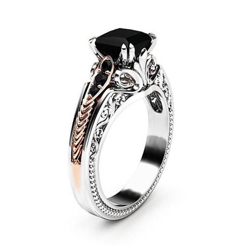 Precioso anillo cuadrado negro de ocho garras para mujer, anillo exquisito de Zircón hueco, anillos de boda de 2,10 CT, tamaño del anillo 6-10