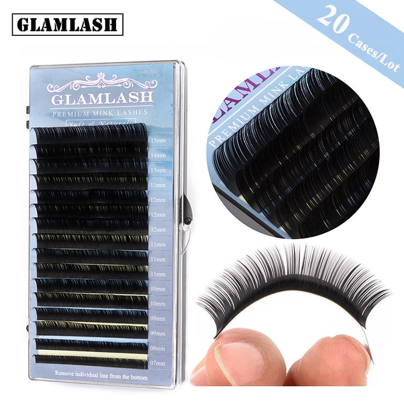 GLAMLASH 20Cases/Lot 16rows 7~15mm mix  JBCD Curl Premium Eyelash Extension Faux Mink Hair Natural Style Individual False lashes