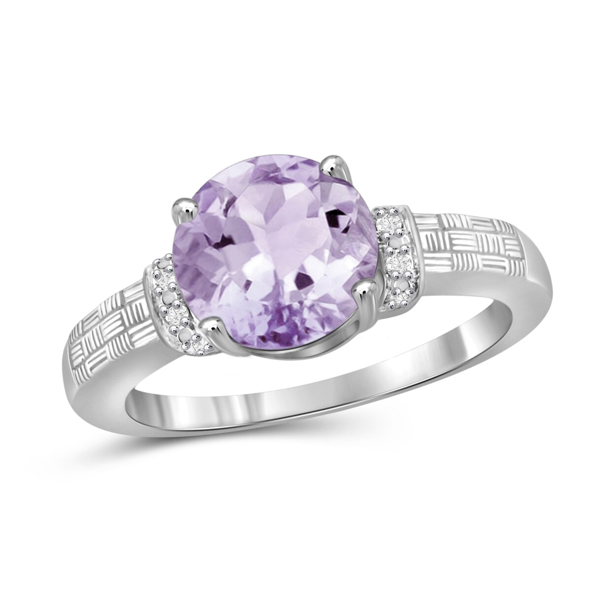 Jewelonfire 1 3/4 карат T. g. w. Розовый фиолетовый камень и акцент белый прозрачный Stone Ring In