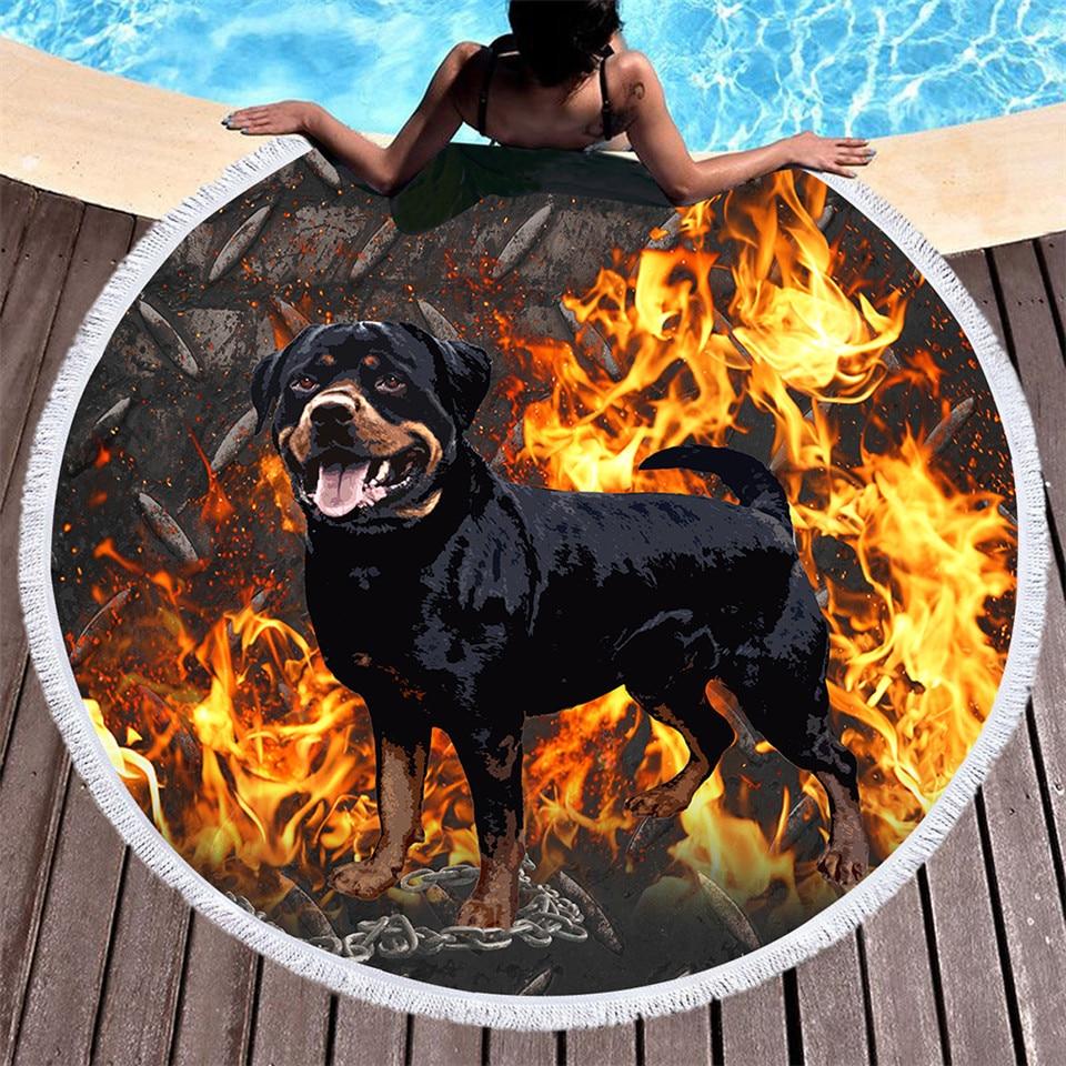 3D Rottweiler Large Round Beach Towel 3d Printed Microfiber Shower Towel Animal Dog Picnic Mat Drap De Plage Blanket