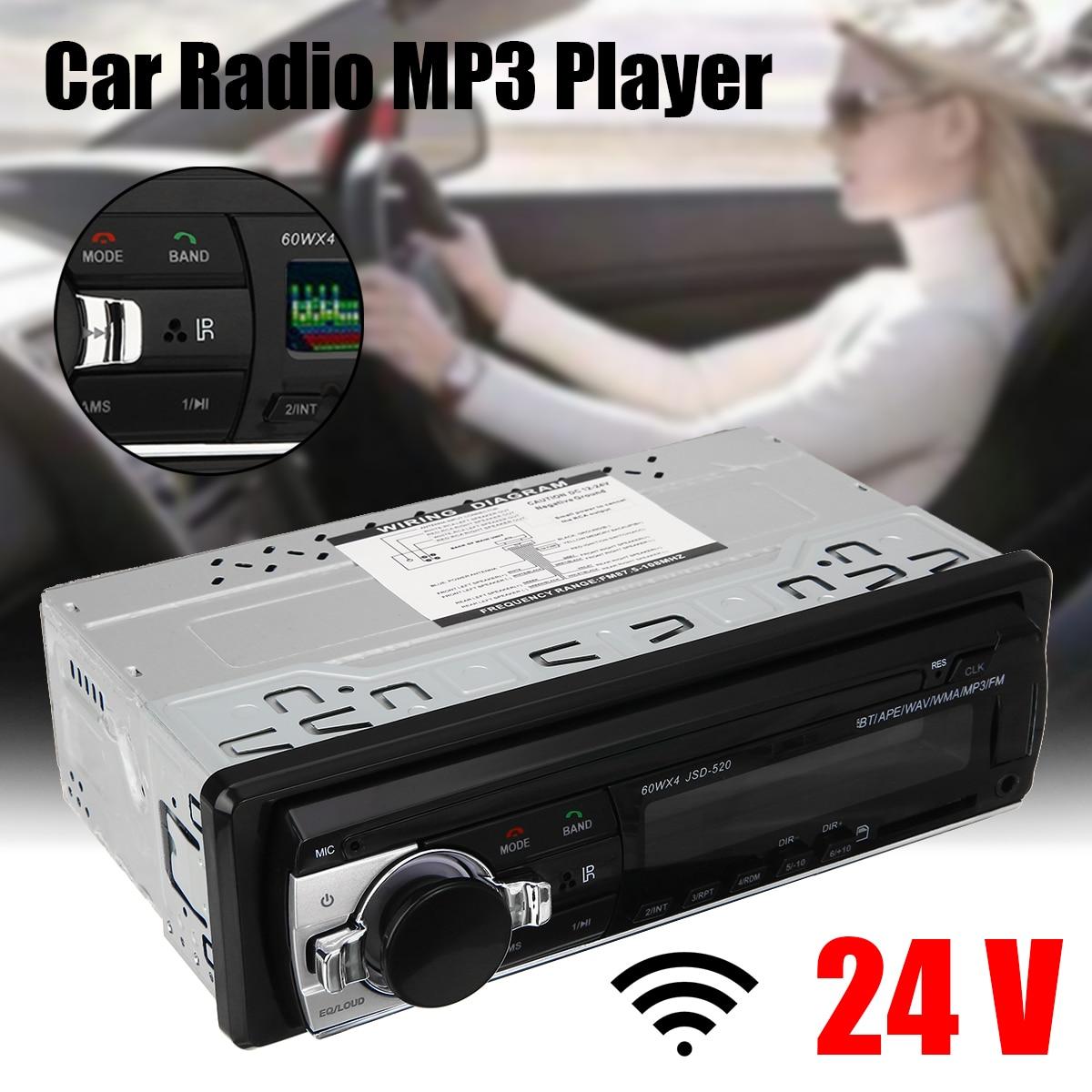 car stereo amplifier dc12v ac220v bluetooth 2ch hi fi car stereo audio power amplifier digital player usb sd fm dvd for car auto JSD-520 24V Car Radio Stereo Player Digital bluetooth Car MP3 Player 60Wx4 FM Radio Stereo Audio USB/SD with In Dash AUX Input