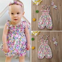 PUDCOCO Fashion Cute Newborn Baby Girl Floral Cotton Bodysuit Jumpsuit Headband 2PCS Outfits Sunsuit