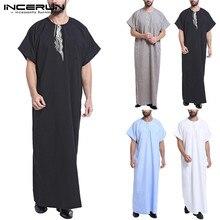 INCERUN robe musulmane caftan hommes Abaya imprimer à manches courtes rétro Robes dubaï arabie saoudite arabe islamique caftan hommes Jubba Thobe 2020