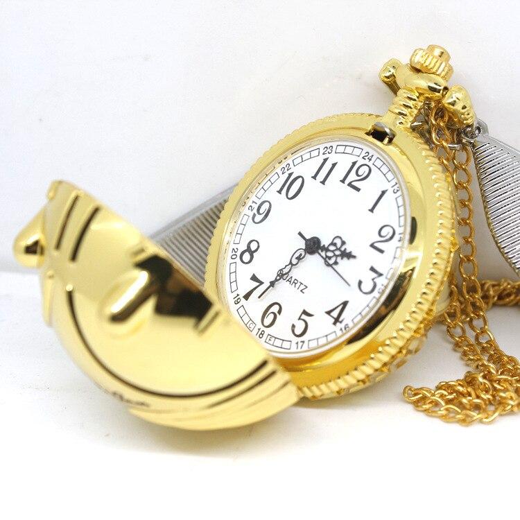Se puede abrir Snitch Dorada reloj colgante, reloj de bolsillo, juego de Quidditch, accesorios de disfraces Chico, Halloween, Navidad