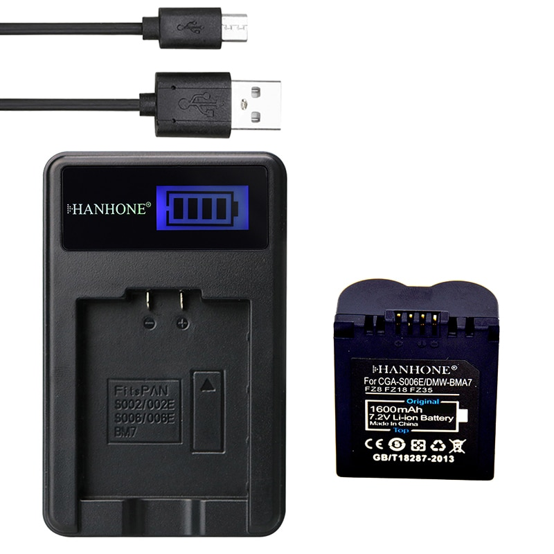 1 Uds 1600mAh CGA-S006 DMW-BMA7 CGR-S006E batería Cámara + LCD cargador para Panasonic Lumix DMC-FZ7 FZ8 FZ18 FZ35 FZ28 FZ38 FZ28S