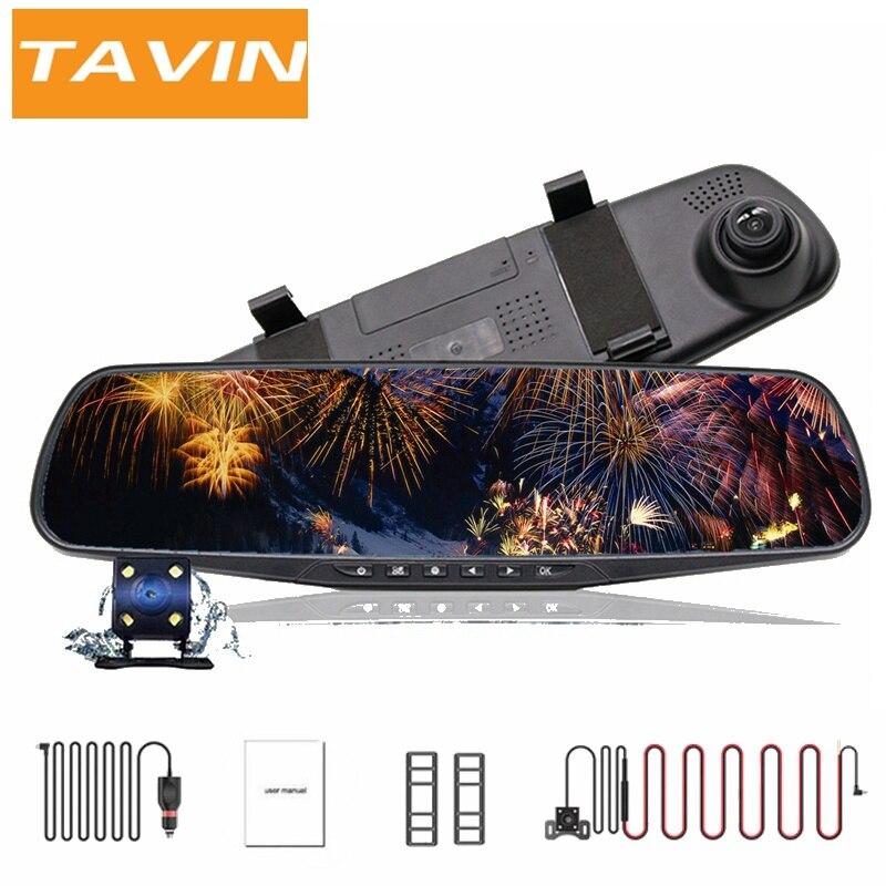 TAVIN Автомобильный видеорегистратор Full HD 1080P Dash cam 4,3 дюймов автомобиля зеркало заднего вида для фото-и видеокамеры Регистраторы видеорегистр...