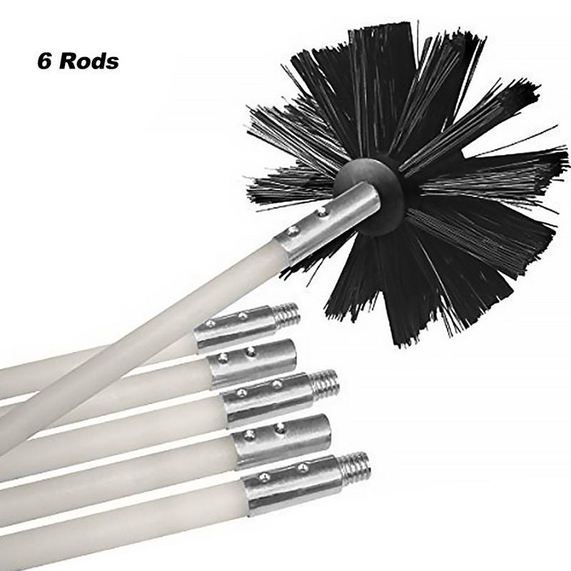 Kit de limpieza de pared interior de tubo de secador Flexible de cepillo de chimenea de alambre de nailon largo Flexible incluye 6 varillas flexibles 1 cabezal de cepillo