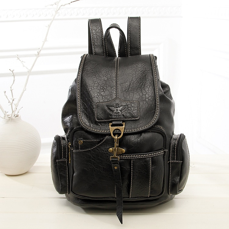 Women Retro Backpack PU Leather Female Anti Theft BackpackFashion Ladies Vintage Travel Hook Backpack Rugzak Schoolbag Mochila