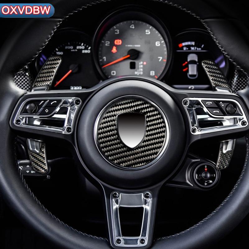 Carbon Fiber Steering Wheel Shift pick Emblem For porsche macan Accessories Automotive interior Stickers Car-Styling 2014-2018