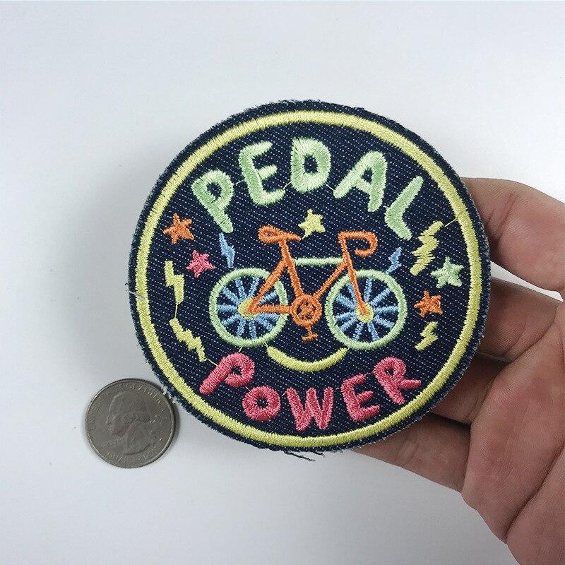Pedal redondo carta de energia scooter volta borracha bordado pedal da bicicleta apliques para vestuário casaco emblemas roupas diy adesivos