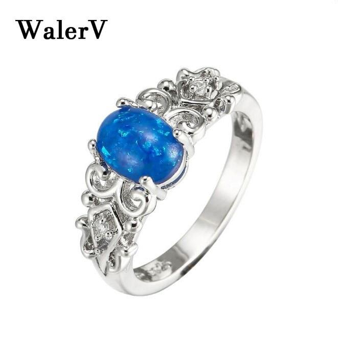 Женские кольца WalerV кольцо из серебра 925 пробы с опаловым покрытием овальной формы