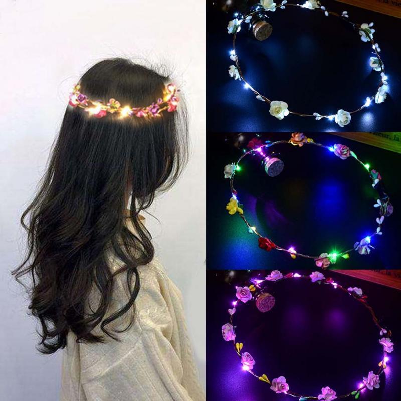 NOVAS VENDAS QUENTES Partido Coroa Headband Da Flor LED Glowing Light Up Cabelo Grinalda Guirlandas Hairband Mulheres Halloween Natal Grinalda
