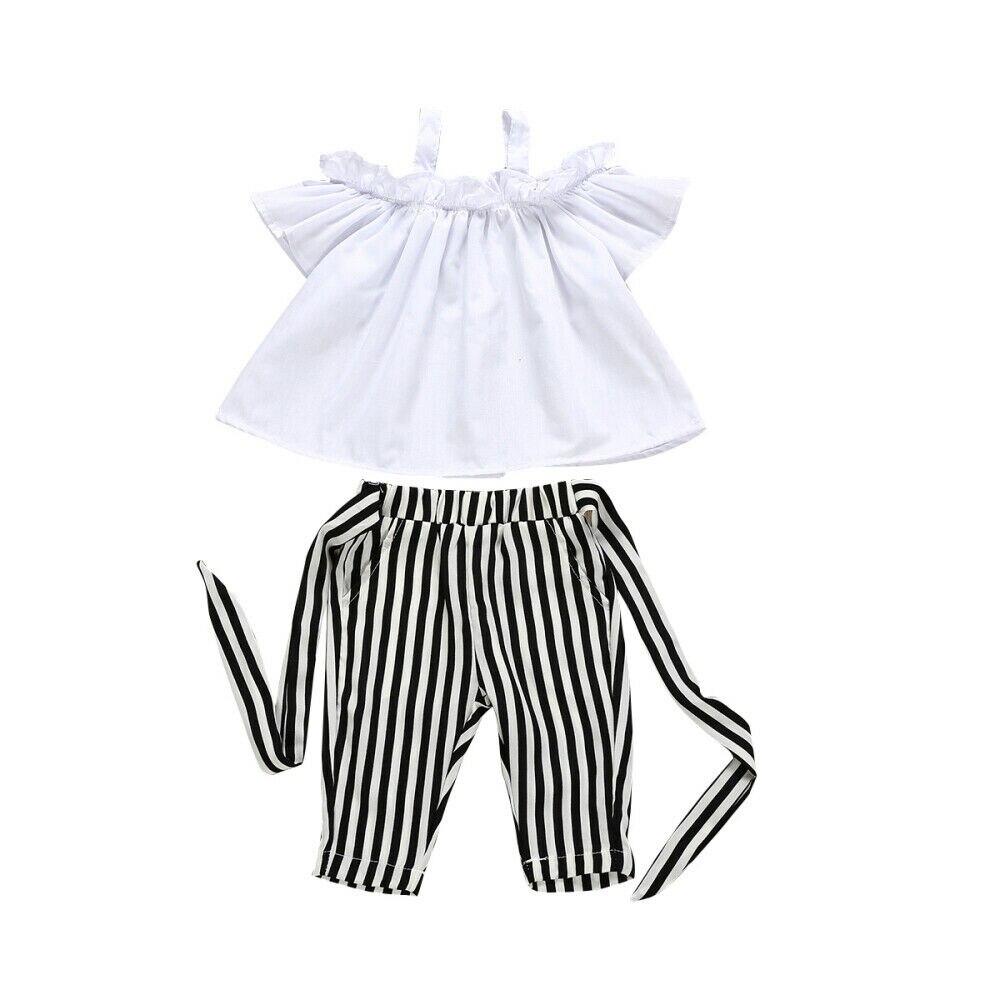 ¡Verano 2019! conjunto de 2 uds de ropa para niñas, pantalones bombachos a rayas con hombros descubiertos para niñas