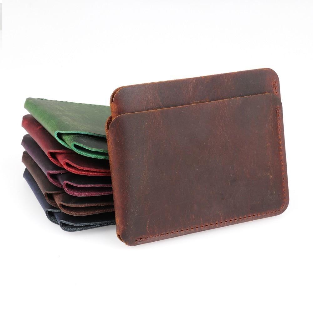 100% echtem Leder Kredit ID Karte Halter Crazy Horse Leder Reise Mini Brieftasche Retro Vintage Business Geldbörse Fall