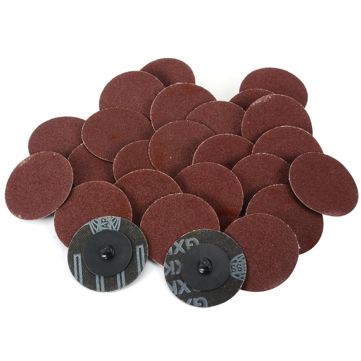 25PCS 180 Grit 2'' Inch Roloc Roll Lock Sanding Disc Sandpaper Abrasive Pads Fot Processing Polishing Cars Metal Woodwork