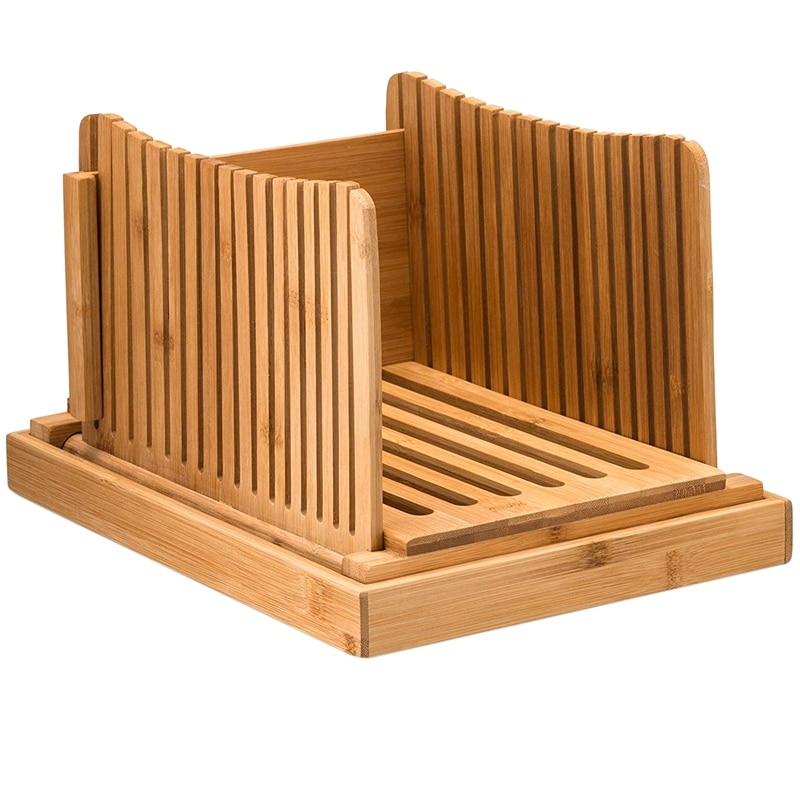 Guía de corte de rebanadora de pan de bambú-cortador de pan de madera para pan casero, pasteles de pan, bolsas plegables y compactas con migas