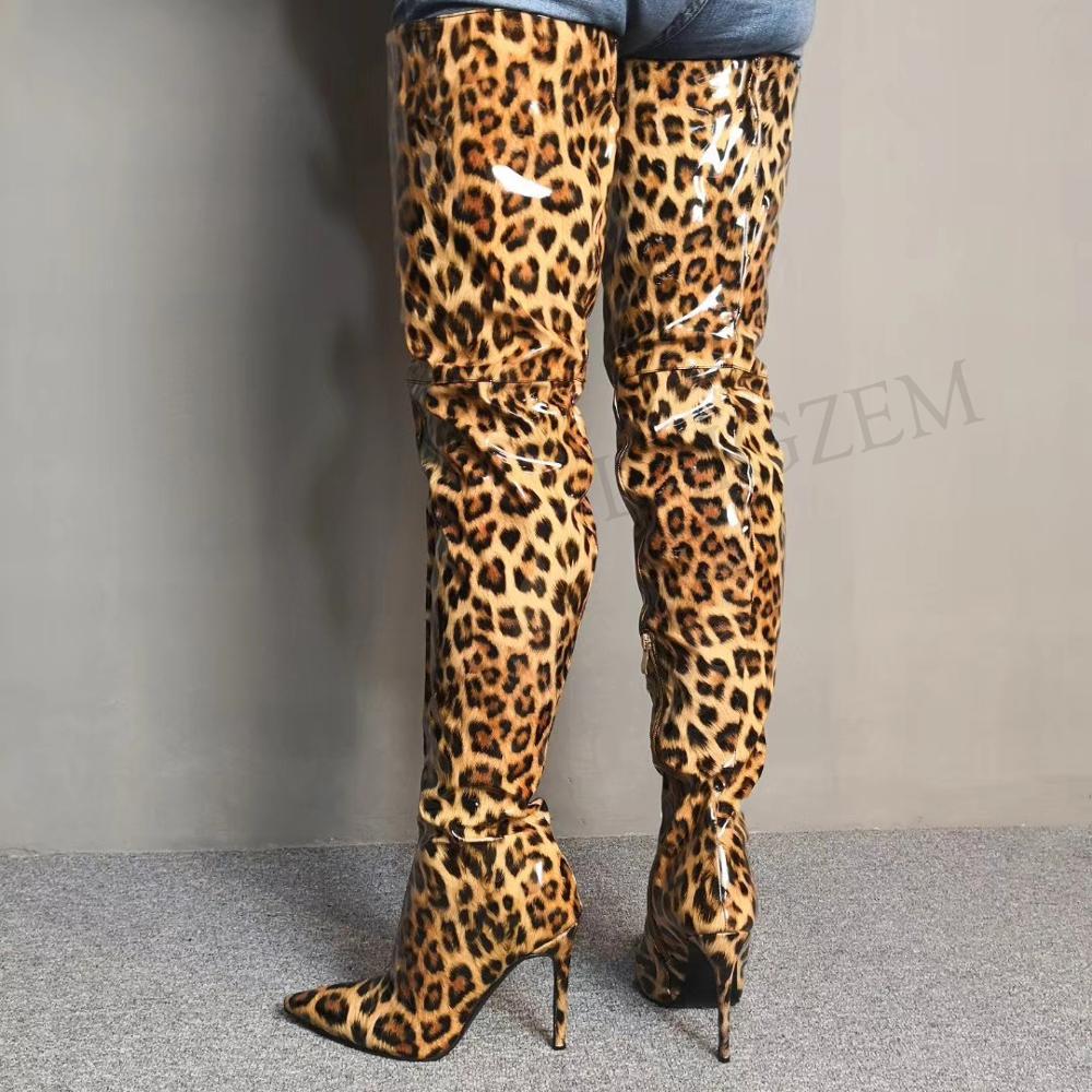 LAIGZEM, botas sexis sobre la rodilla para Mujer, botas con tacón de aguja patentado, botas con cremallera lateral, botas impermeables para Mujer, talla grande 4-14