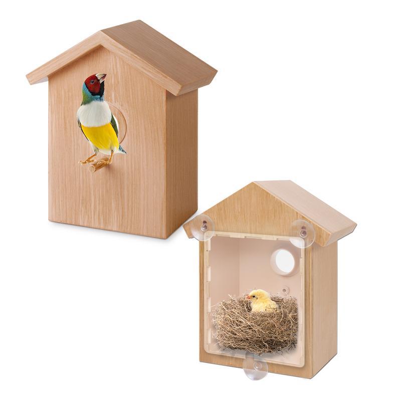 Wooden Bird House Birdhouse Hanging Nest Feeder With Loop Home Garden Yard Outdoor Pet Decors House Shape