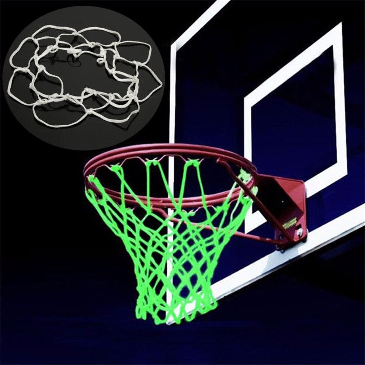 Светящийся в темноте спортивный нейлоновый баскетбольный обруч для занятий спортом на открытом воздухе, тренировочный костюм для детей, аксессуары для баскетбола, белый цвет, 20 см