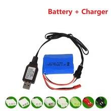 14500 500mah 6.4v Li-ion batterie pour Wltoys 18401/18402 télécommande tout-terrain véhicule 6.4v chargeur pour RC jouets voiture bateau Turcks