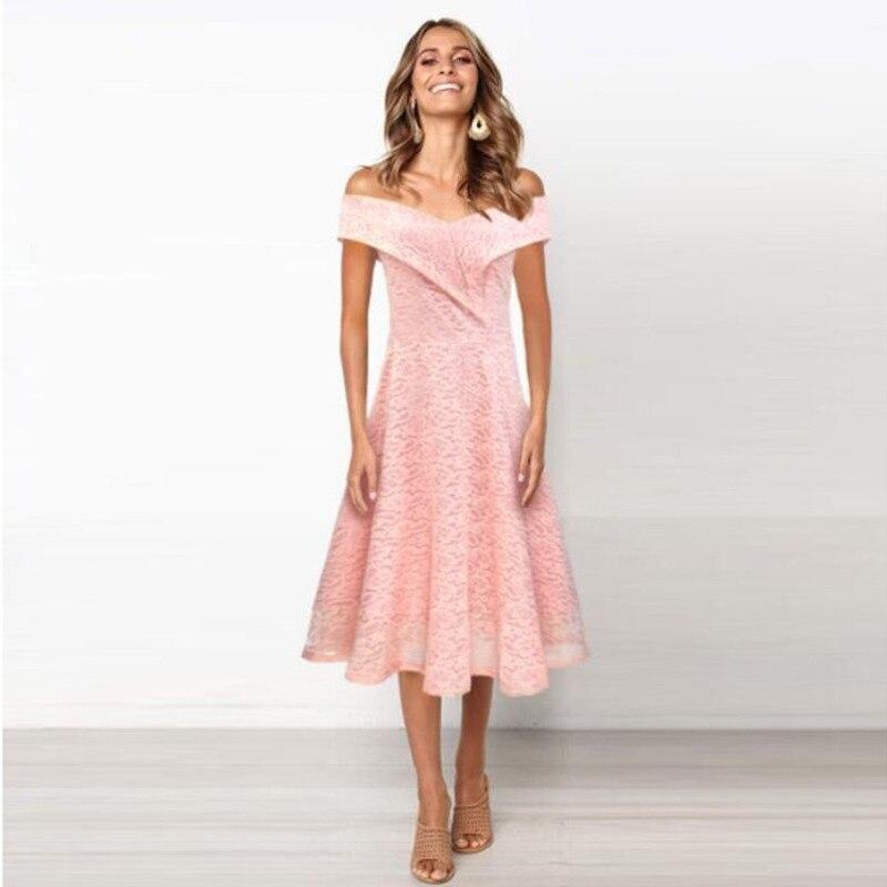 Фото - Cold Shoulder Lace Suit-dress 2019 Summer Women Ladies Elegant   Party Draped Flared Dresses Vestido De Renda Rz* bell sleeve cold shoulder lace panel dress