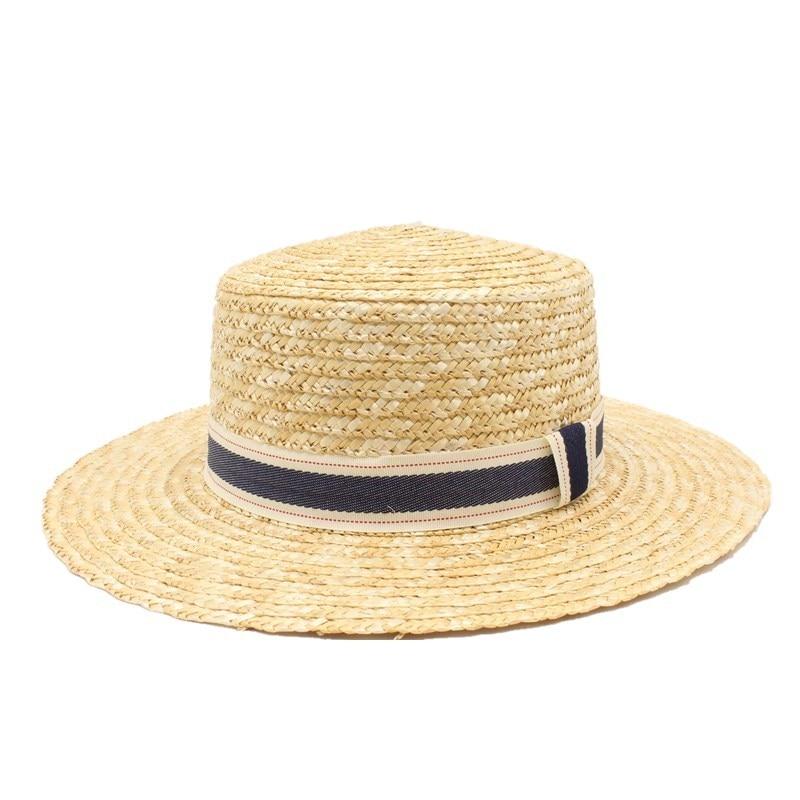 2019 Wide Brim Boater Hat 10cm 9cm Brim Straw Hat Flat Women Summer Kentucky Derby Hat White Black Ribbon Tie Sun Hat Beach Cap