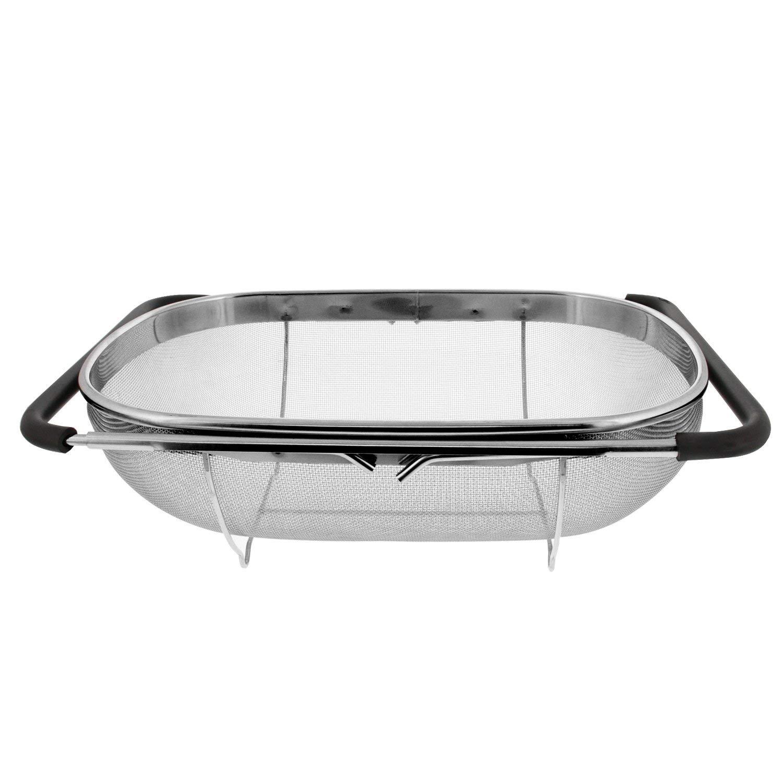 Qualidade superior sobre o escorredor oval de aço inoxidável da pia com malha fina 6 quart coador cesta & aperto de borracha expansível ha